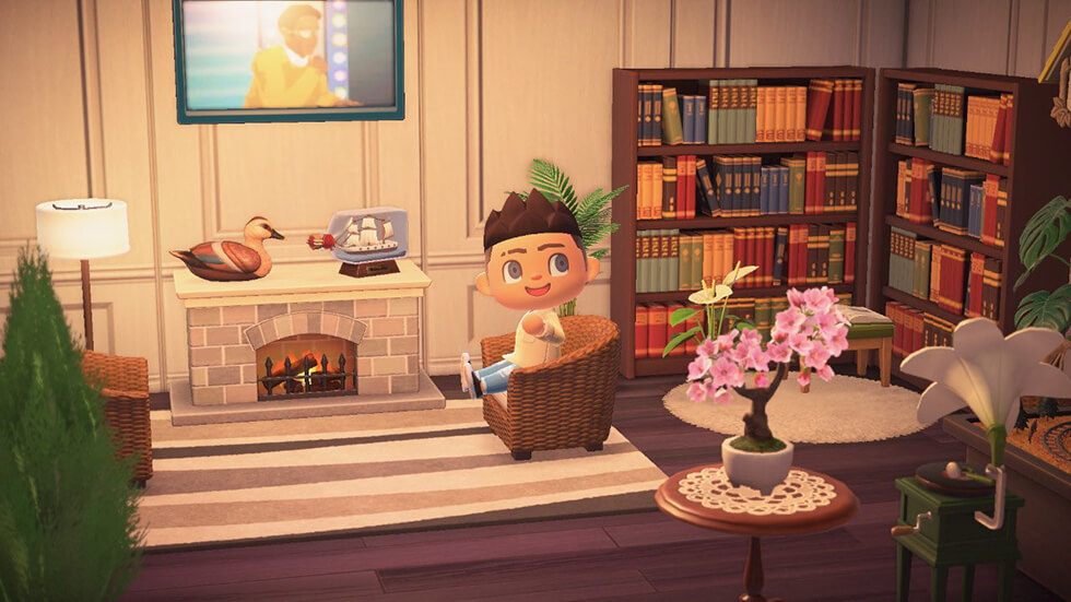 Animal crossing living room with book shelves and fireplace