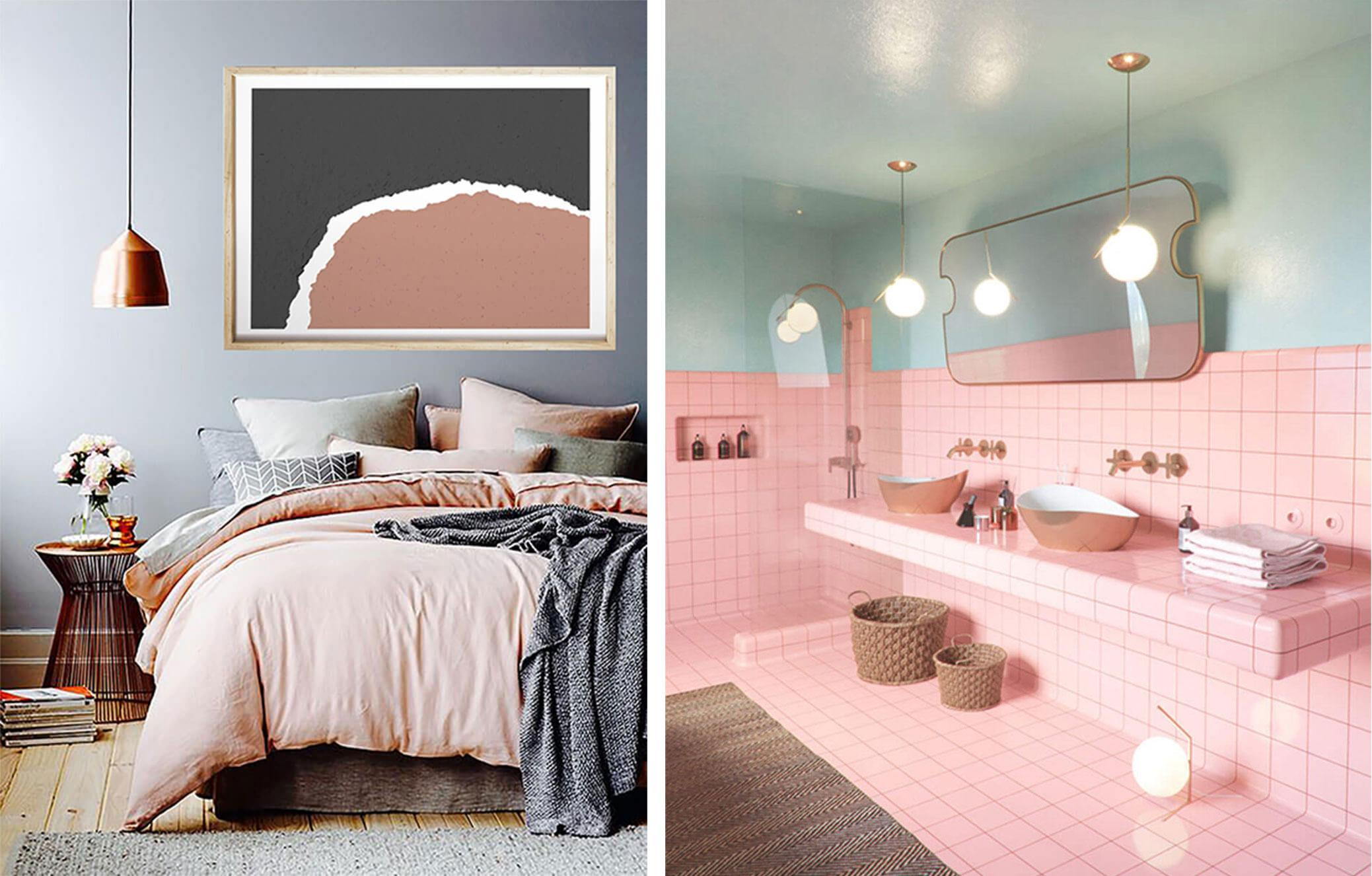 grey and pink cosy bedroom, pastel pink and mint bathroom