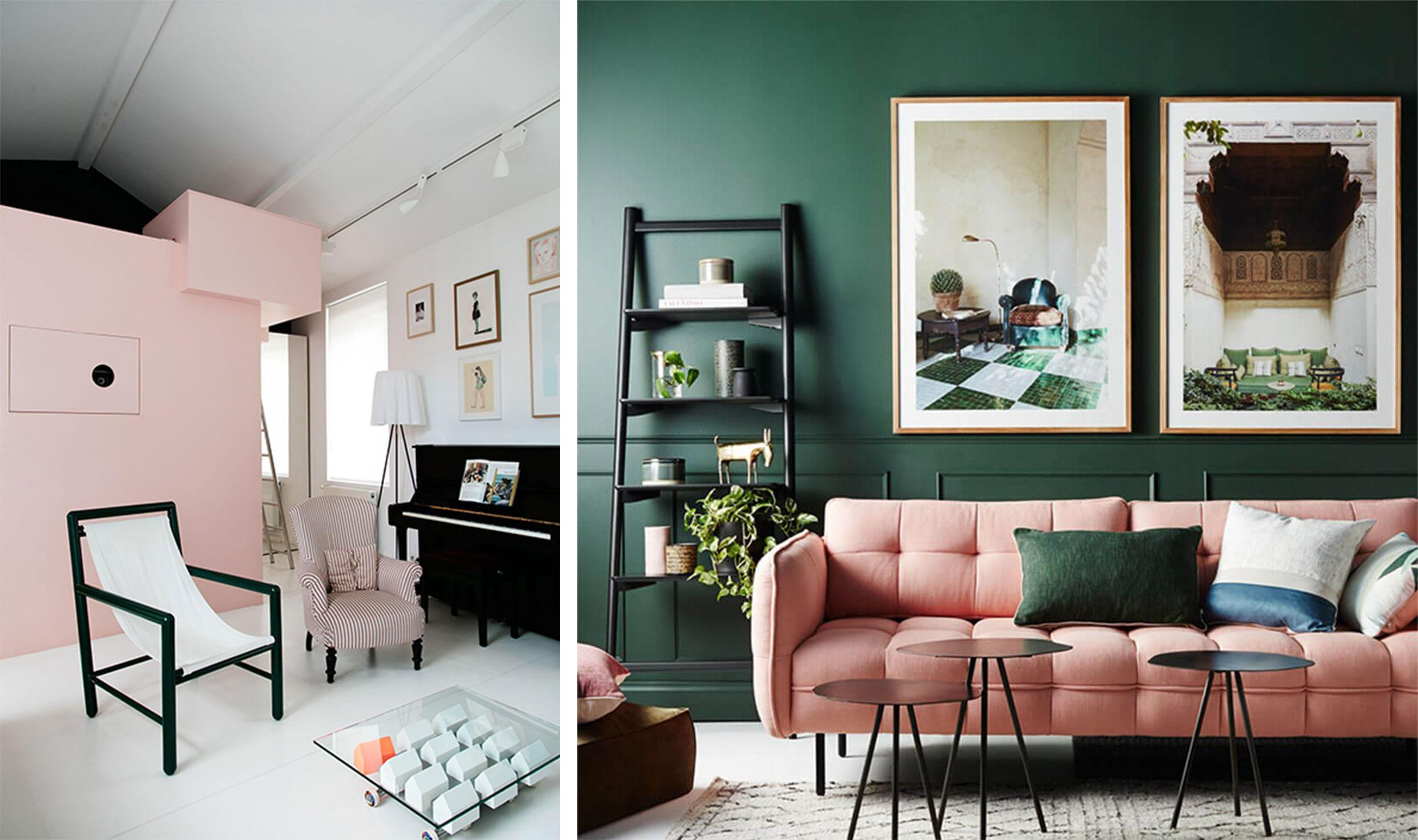 pink and white minimalist living room, pink sofa in a green living room