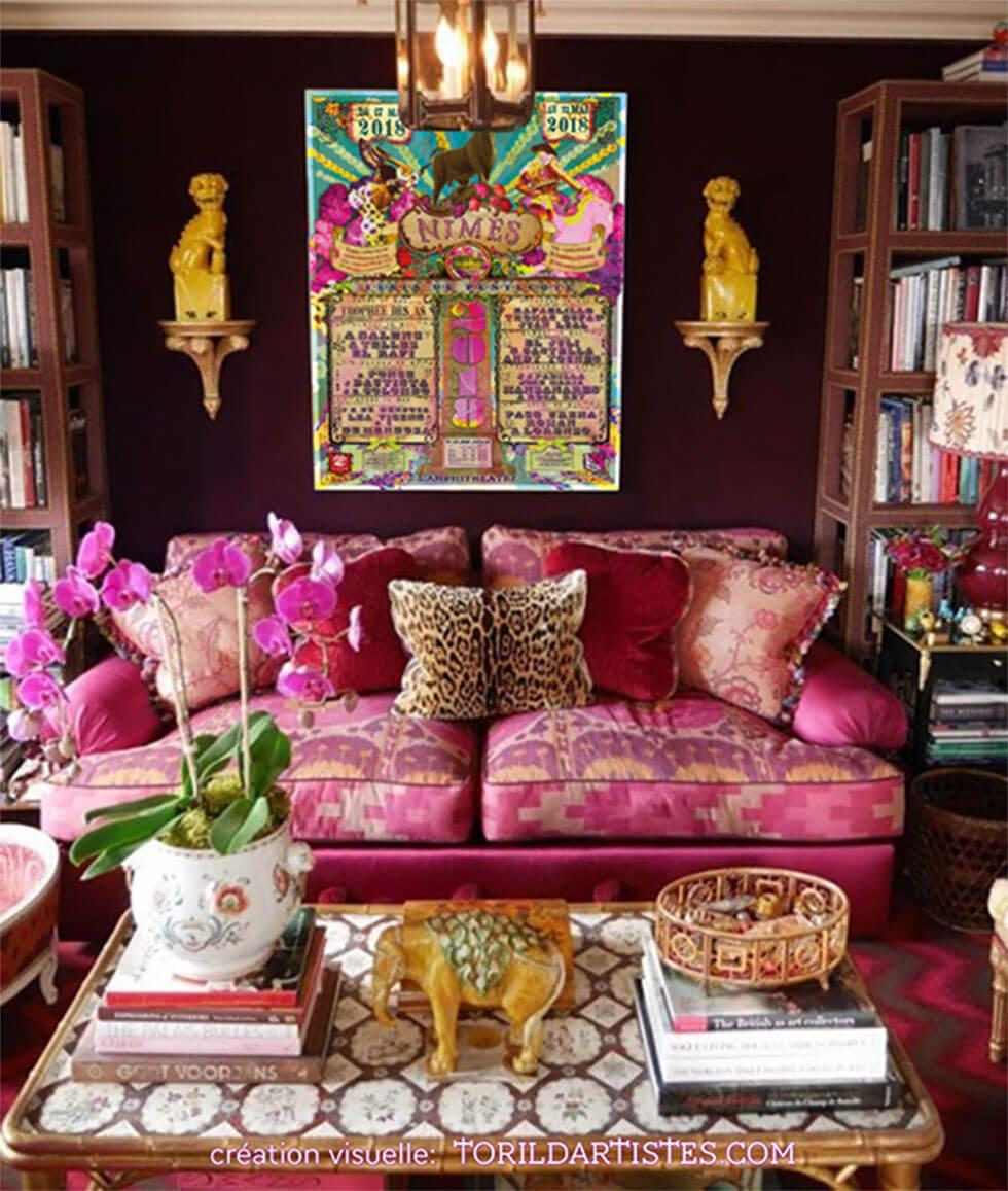 A patterned pink sofa in a maximalist living room