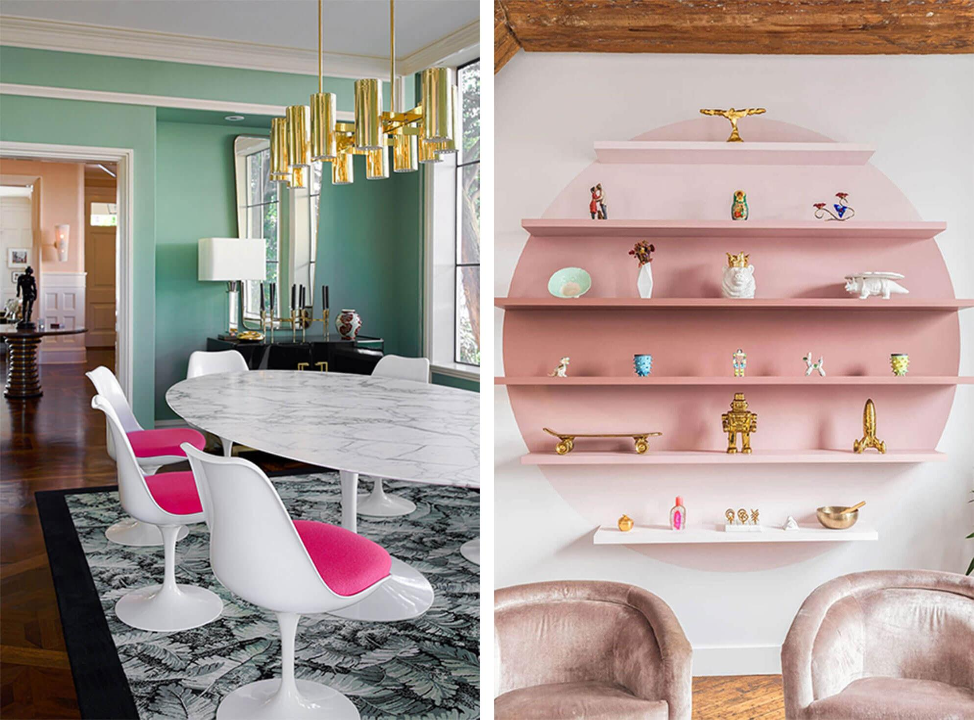 Pops of hot pink as dining room cushions, ombre pink accent wall with shelves