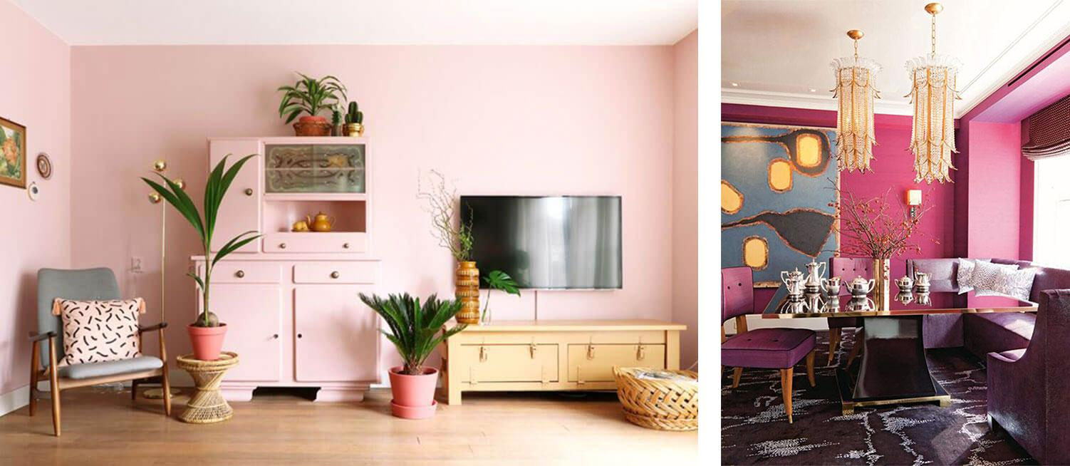 Pastel pink walls in a Scandi boho living room, dark pink walls in a modern dining room