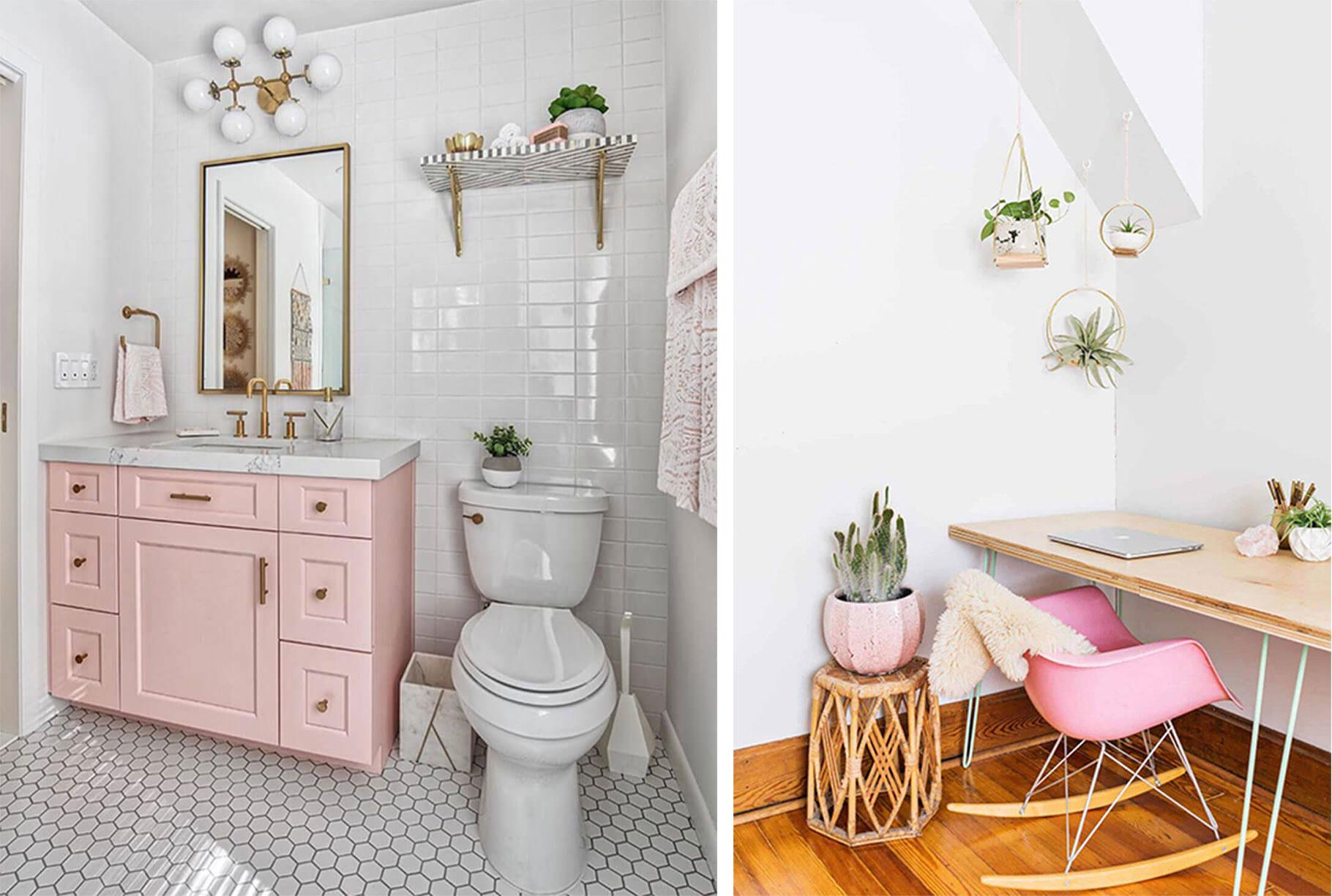 pastel pink cabinet in a modern bathroom, a pink rocking chair in a bohemian home office