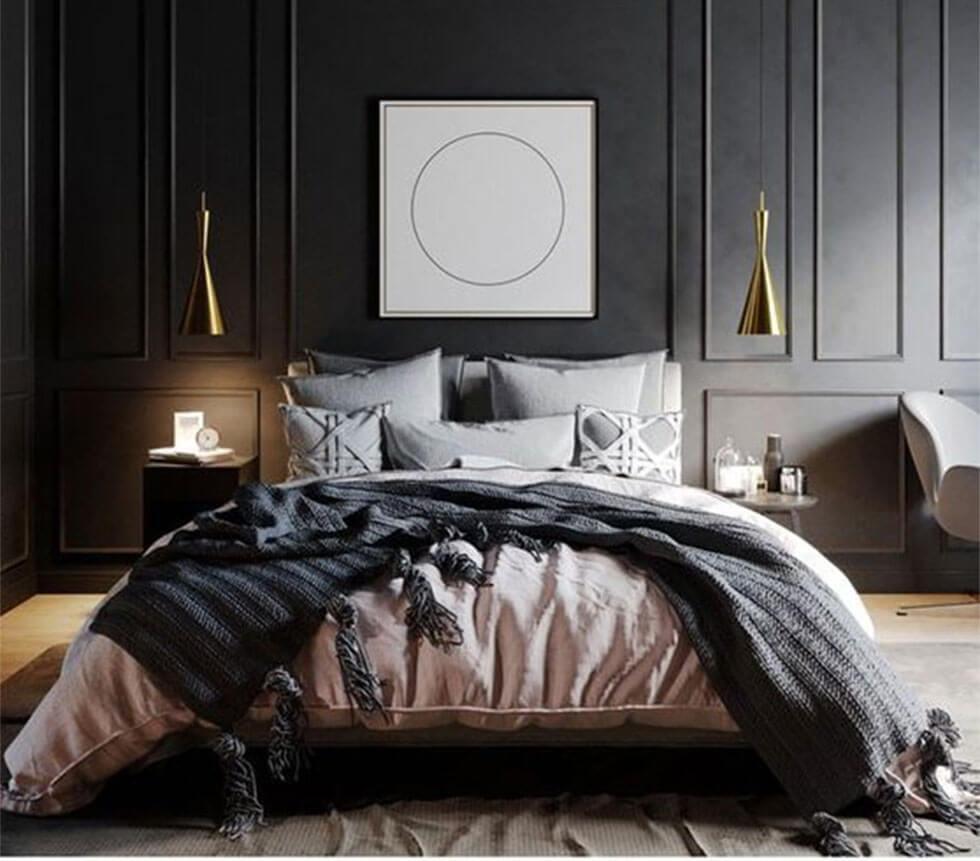 Dark grey bedroom with cosy neutrals