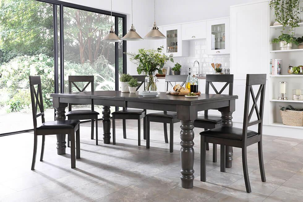 Wooden grey dining set in modern farmhouse dining room