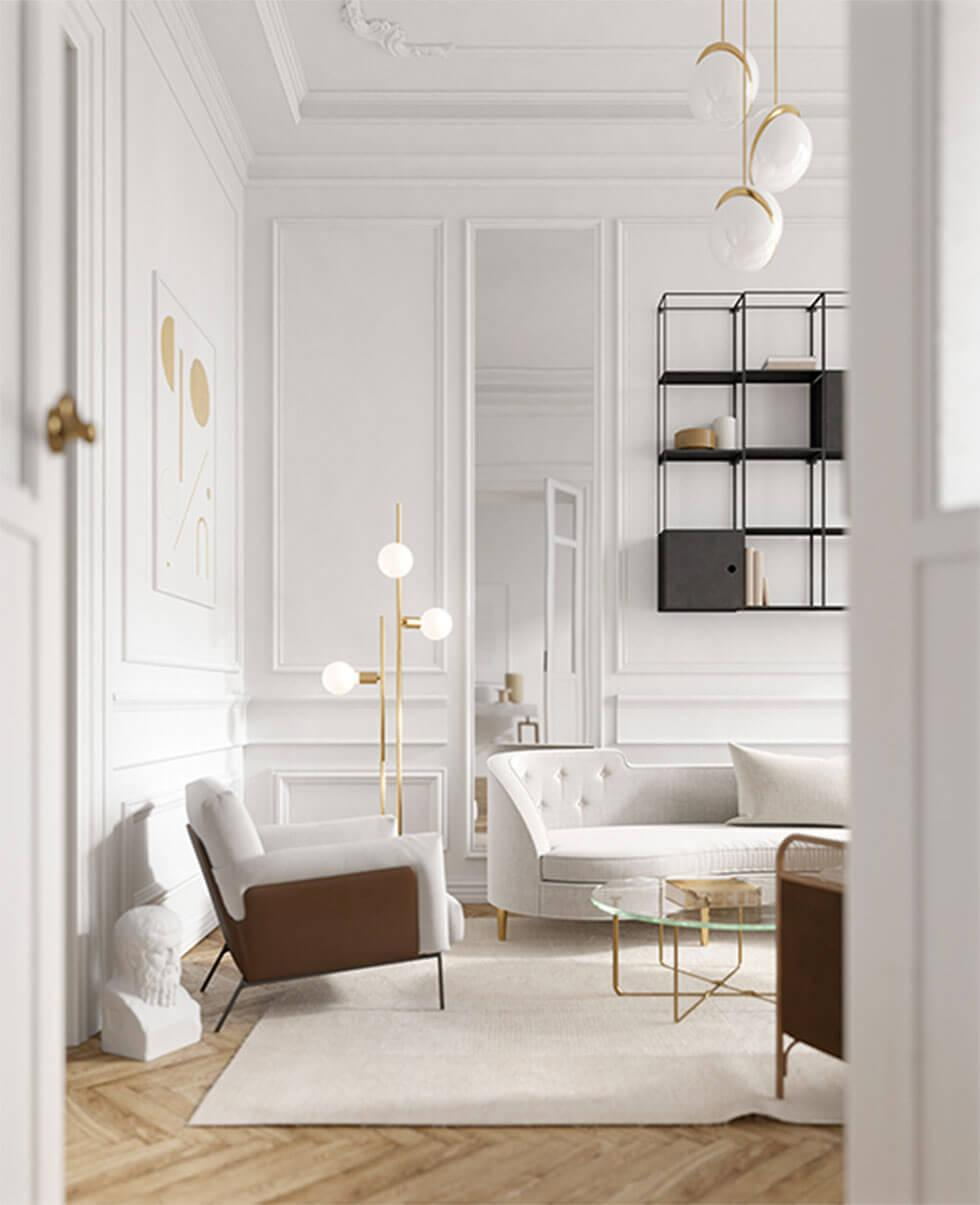 White living room with gold standing lamps.