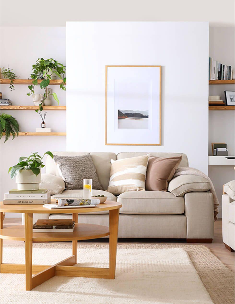 Oatmeal fabric sofa in modern farmhouse living room