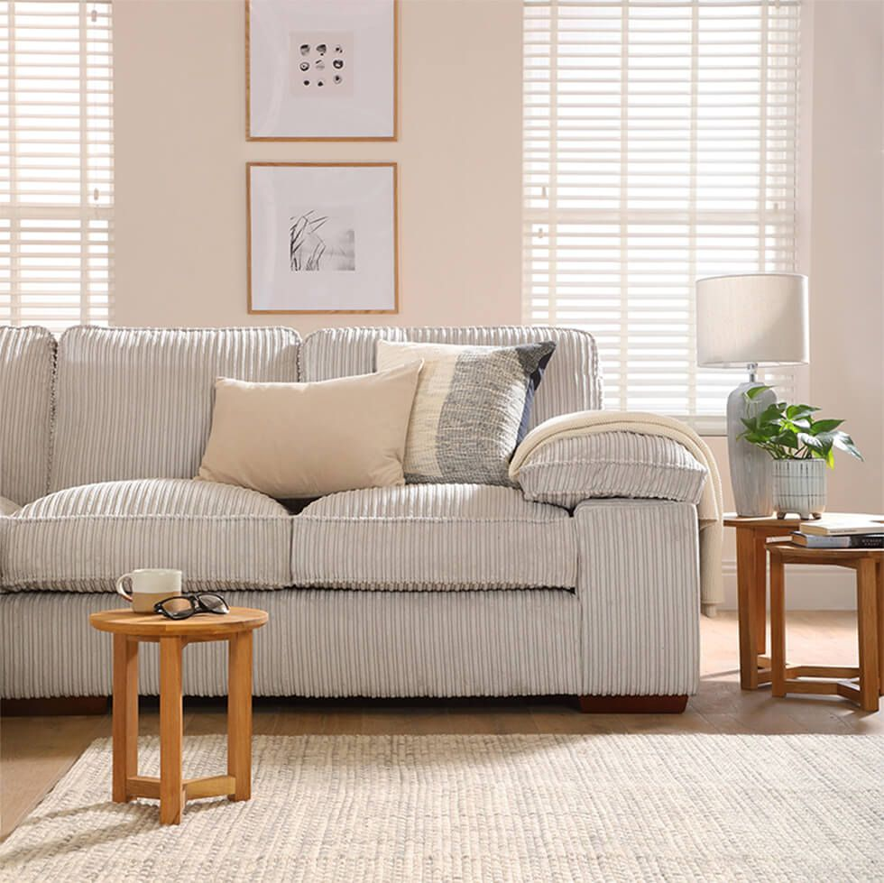 Cord sofa in a laidback country living room