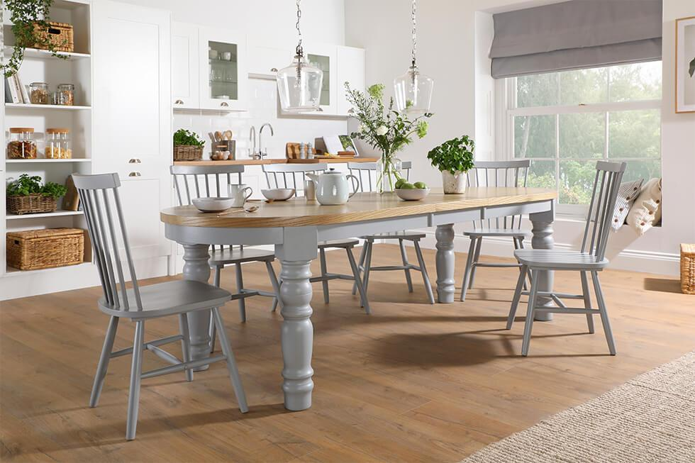 Painted two tone grey dining set with turned table legs and Windsor chairs