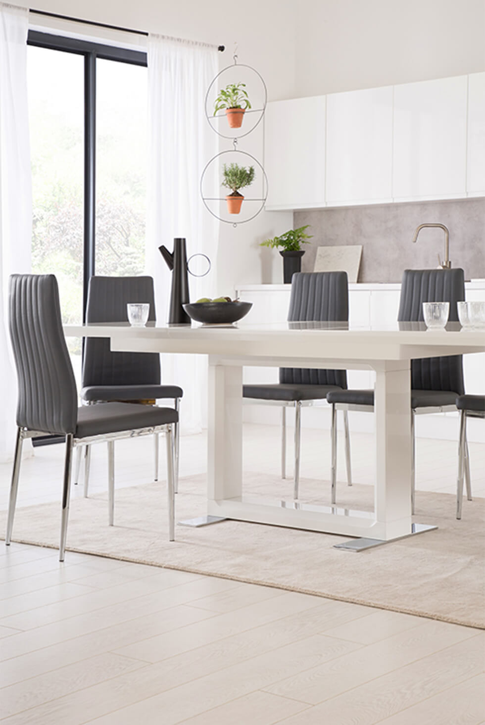 Furniture Choice - Tokyo White High Gloss Extending Dining Table with 4 Leon Grey Leather Chairs