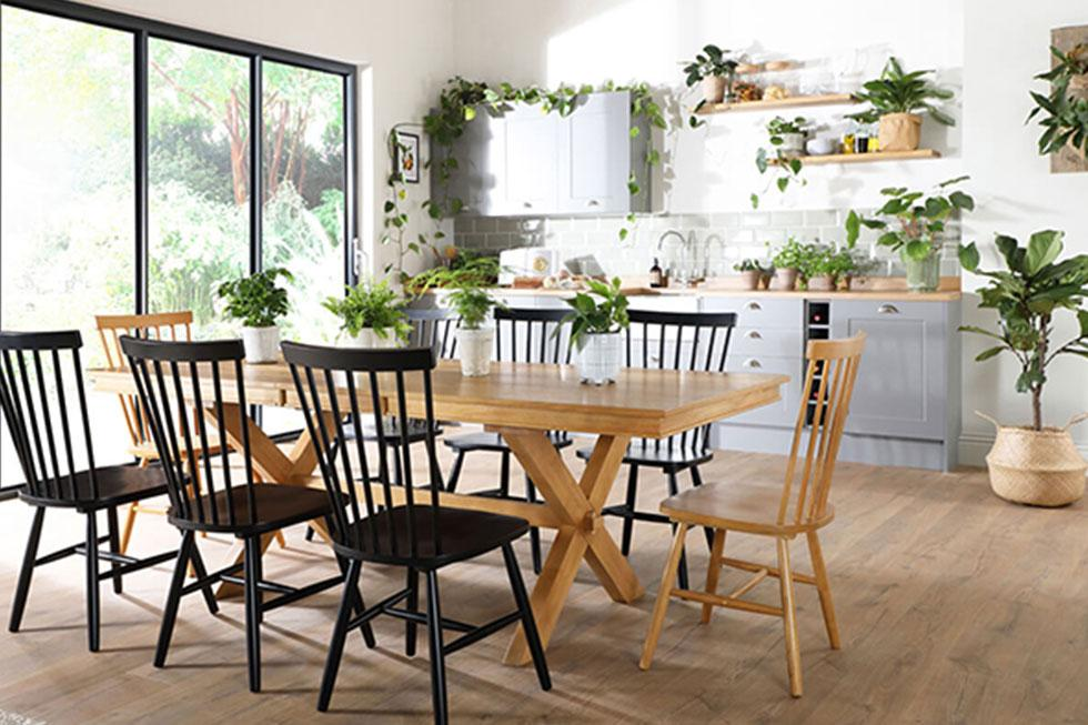 Dining and kitchen area filled with plants