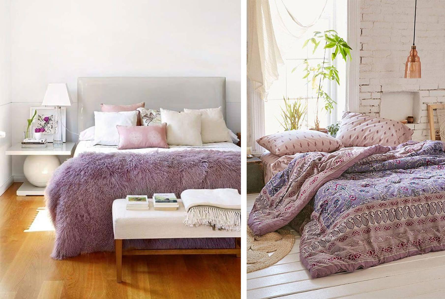 Glamorous grey bedroom with purple bedding
