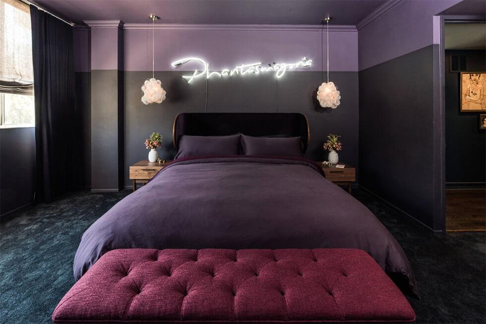 Two tone black and purple bedroom in a contemporary style