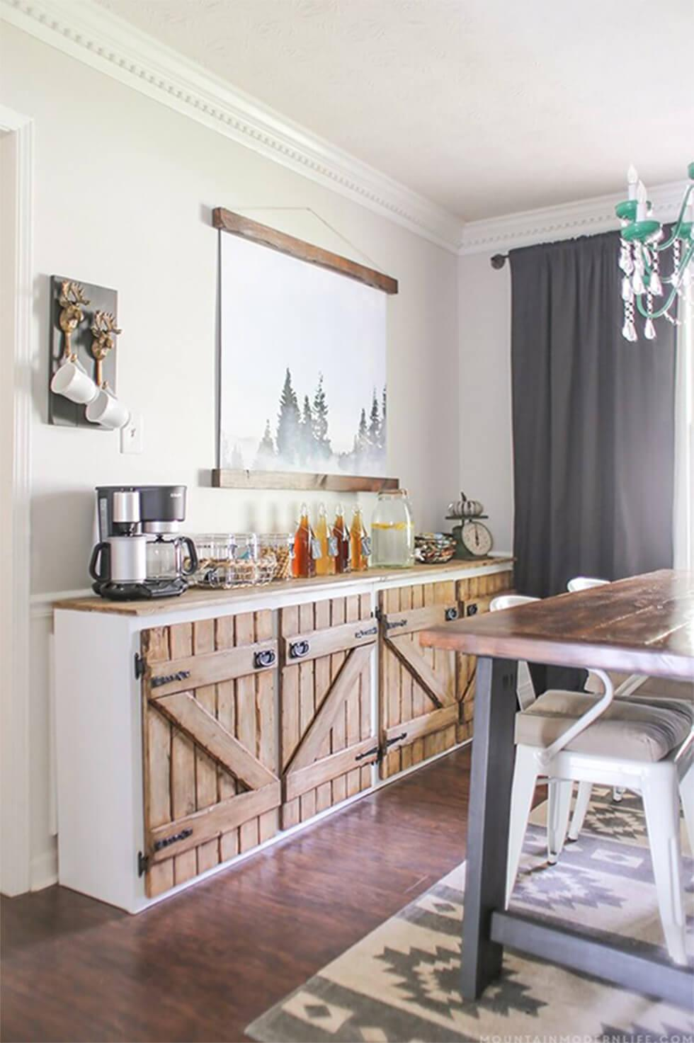 Rustic sideboard with upcycled farm doors in a country style dining room
