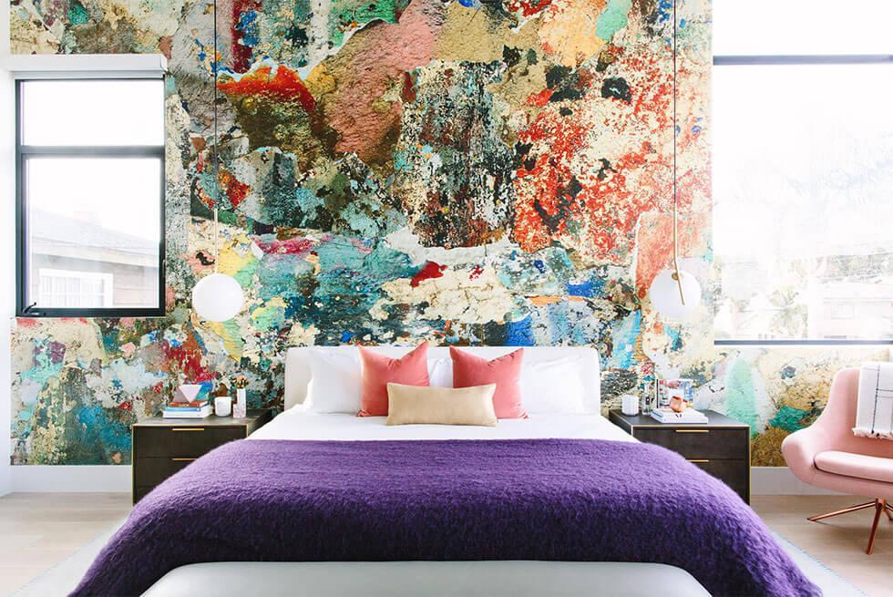 Bold, abstract bedroom wallpaper.