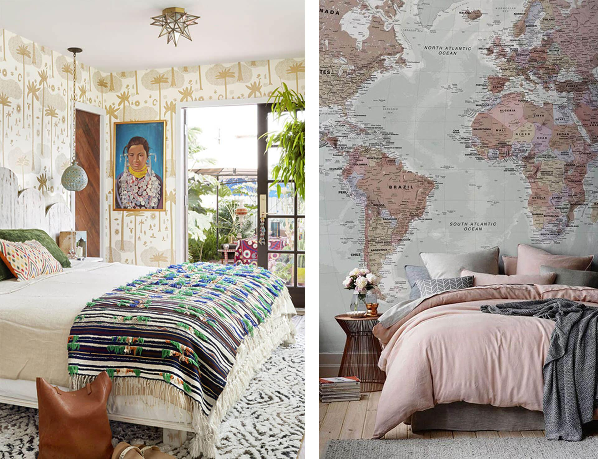 Bedroom wallpaper in various designs.