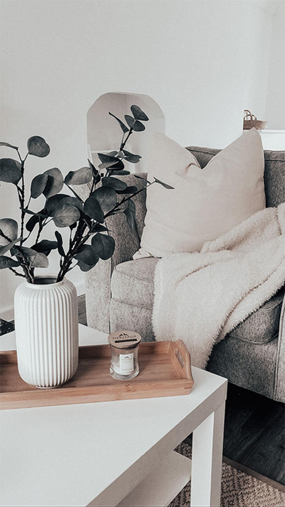 Cosy monochrome living room with soft white cushion and throw and eucalyptus leaves