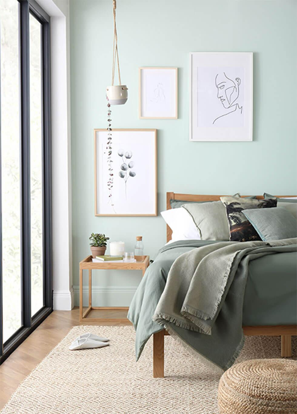 Wellness inspired green bedroom.