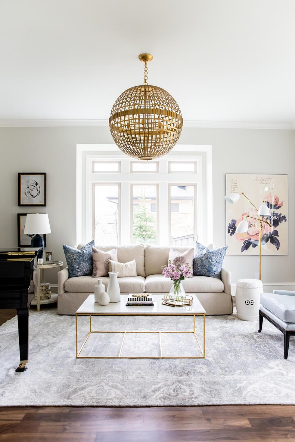 Neutral living room in soft, elegant shades of ivory and grey.