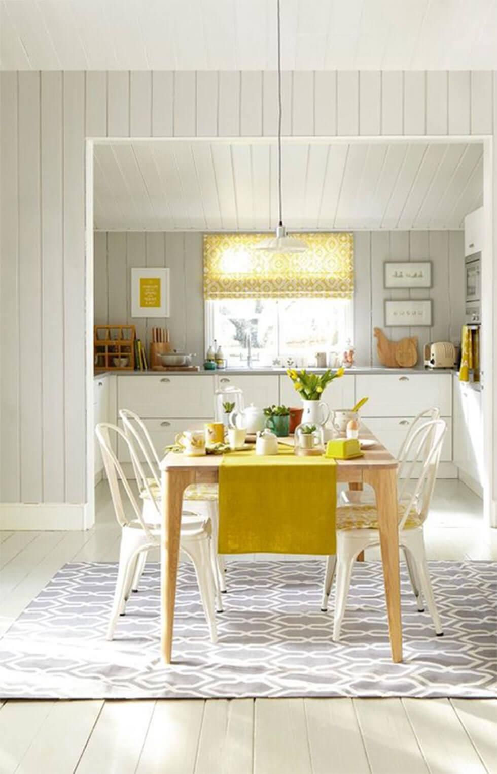 Yellow accents in a contemporary dining room