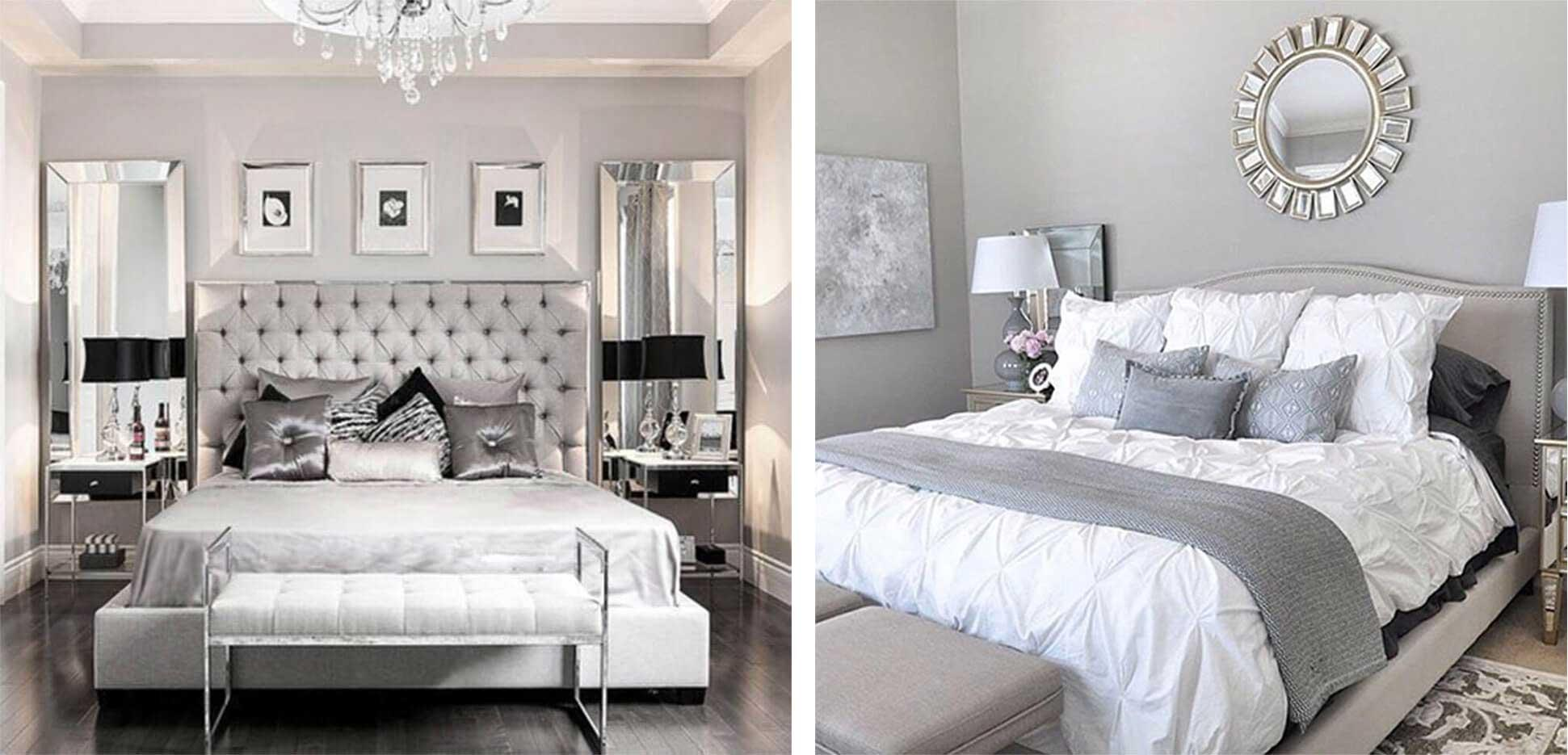 Grey bed with tufted headboard, dark silver pillows, side tables with chrome legs.