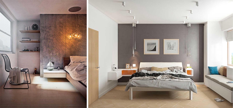 Grey feature wall in a grey bedroom.