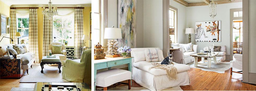 Neutral country living room ideas with lots of natural light
