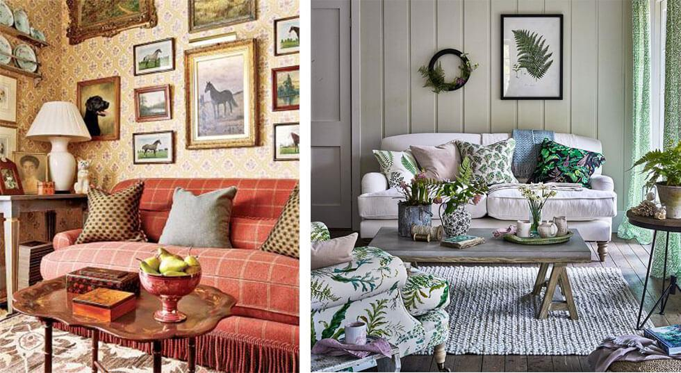 Country living rooms with animal motifs and botanical prints