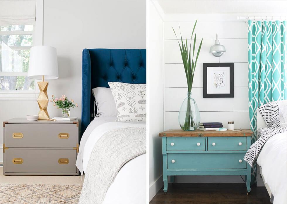 Stylish dressers next to the bed.