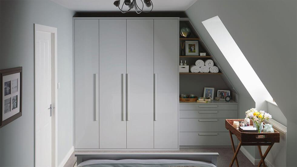 A compact built-in storage wardrobe.