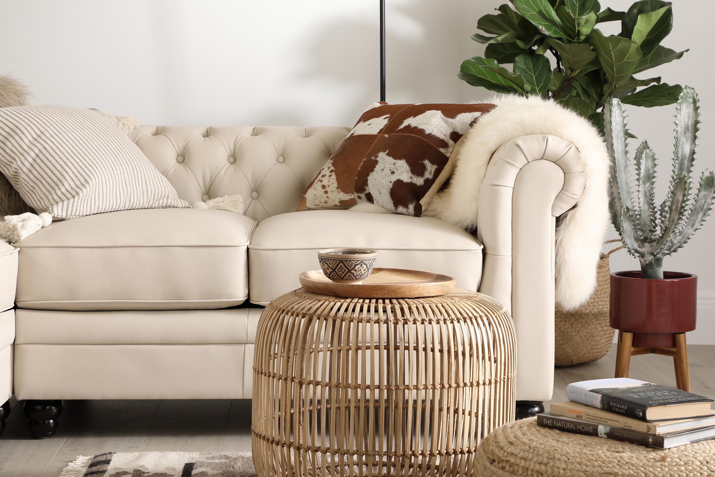 White leather sofa with natural decor and indoor plants