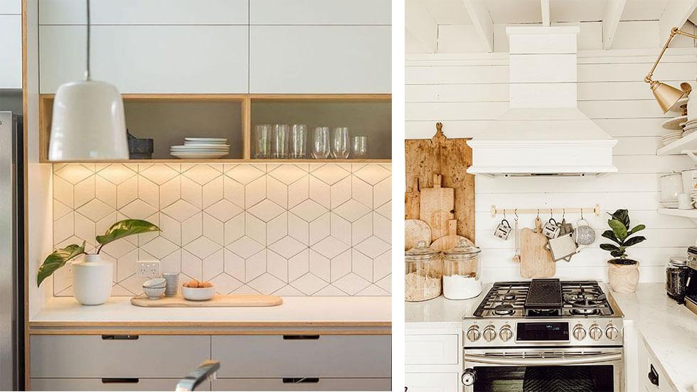 White kitchen counter tops that are clean and clutter-free.