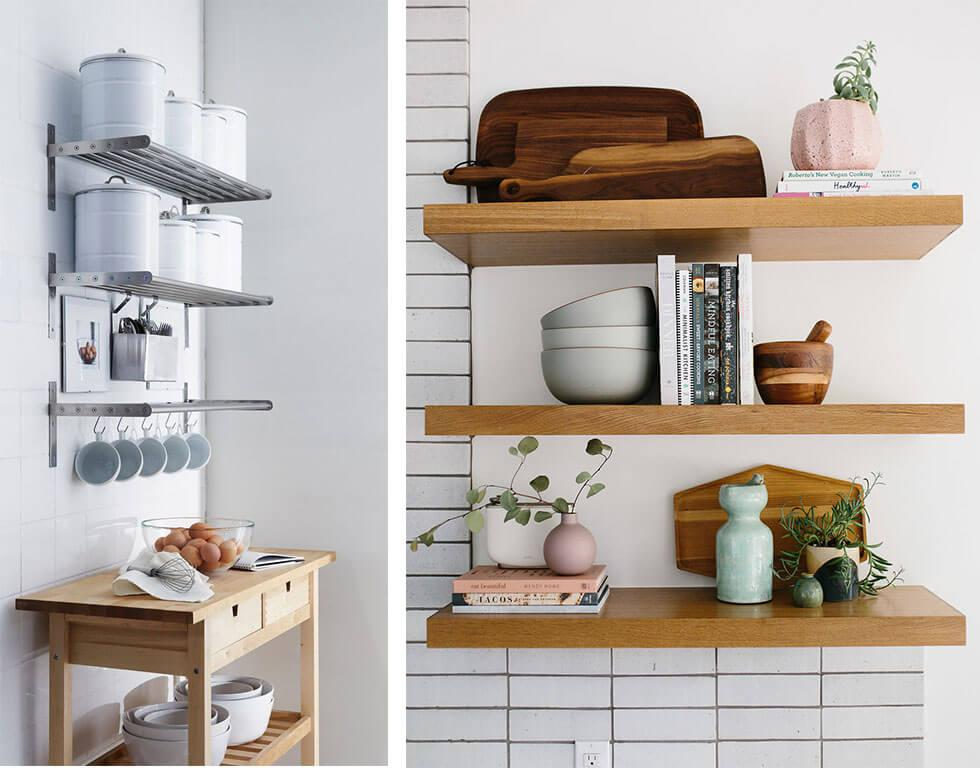 Metal and wooden floating shelves in a kitchen.