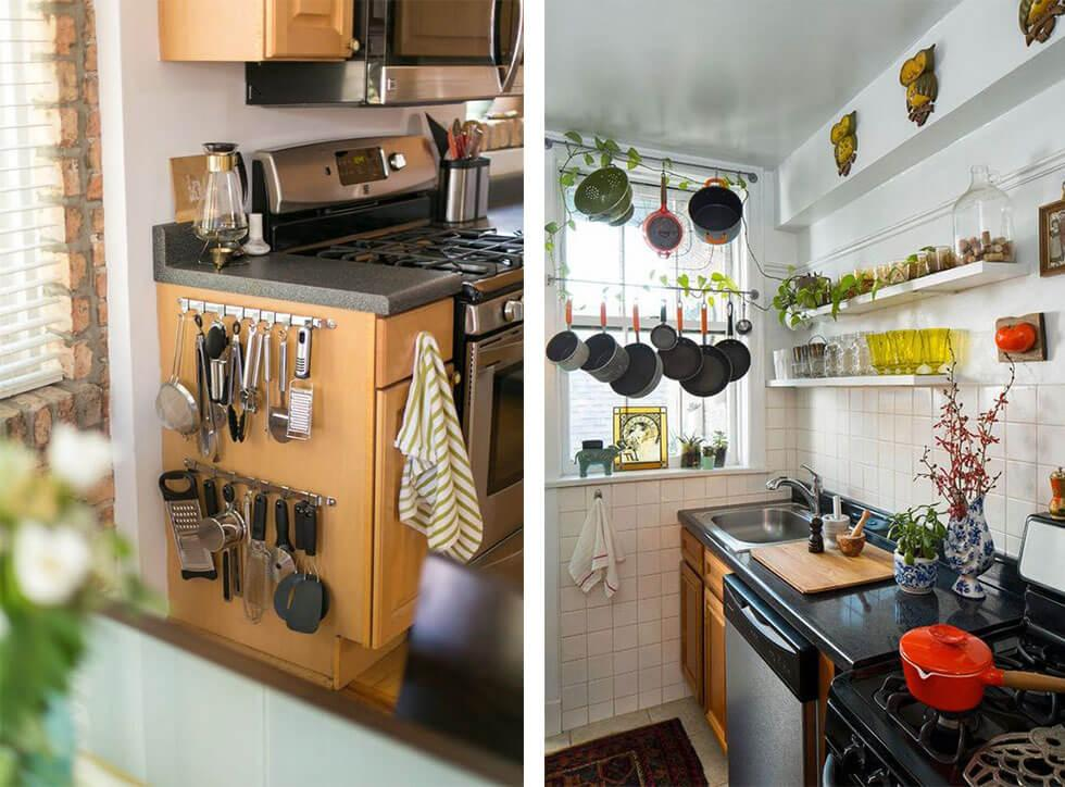 Cooking utensils and pots hanging off hooks in a kitchen.