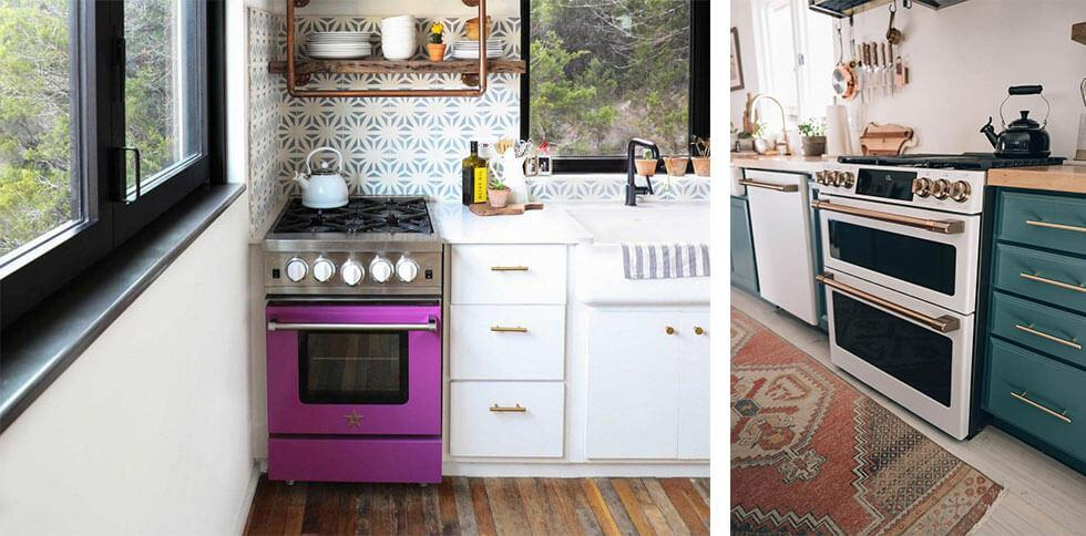 Small purple oven in a kitchen.