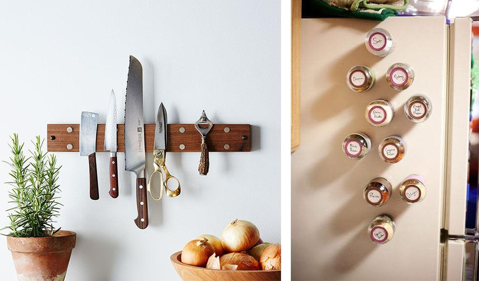 Knives in a row on a magnetic strip and spice jars with magnetic covers stuck to a refrigerator.