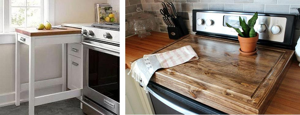 A pull-out drawer with a flat surface and a stove top covered with a wooden chopping board.