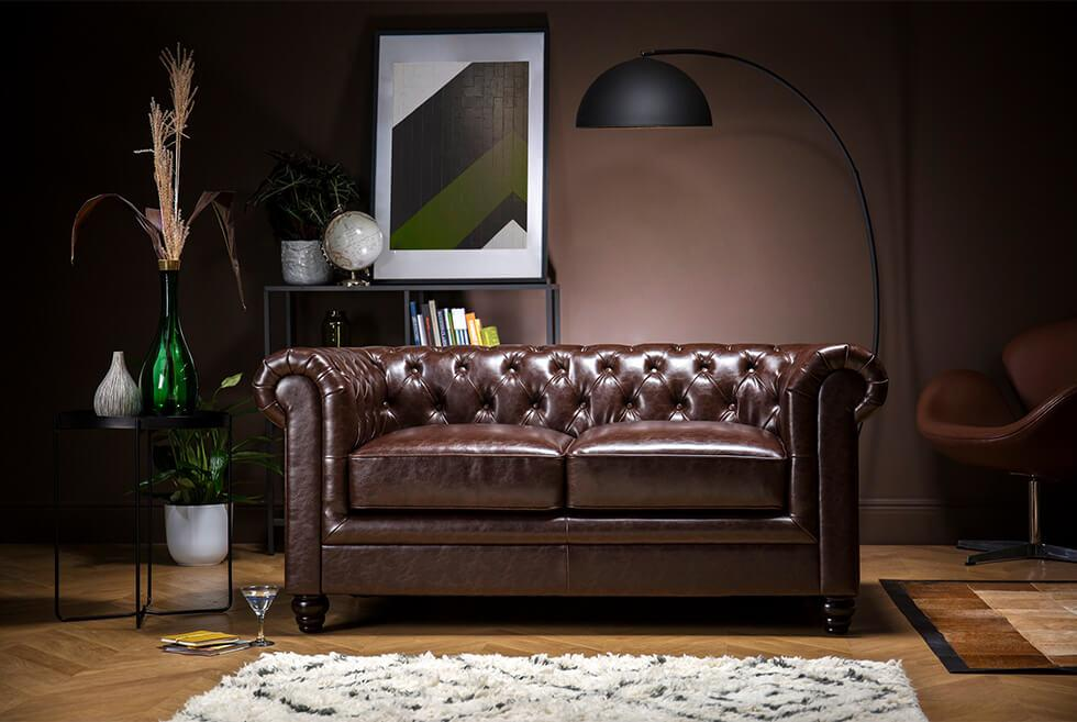 Furniture Choice dark brown leather Chesterfield sofa