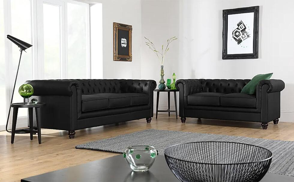 Furniture Choice Hampton black leather Chesterfield sofa set in a modern living room