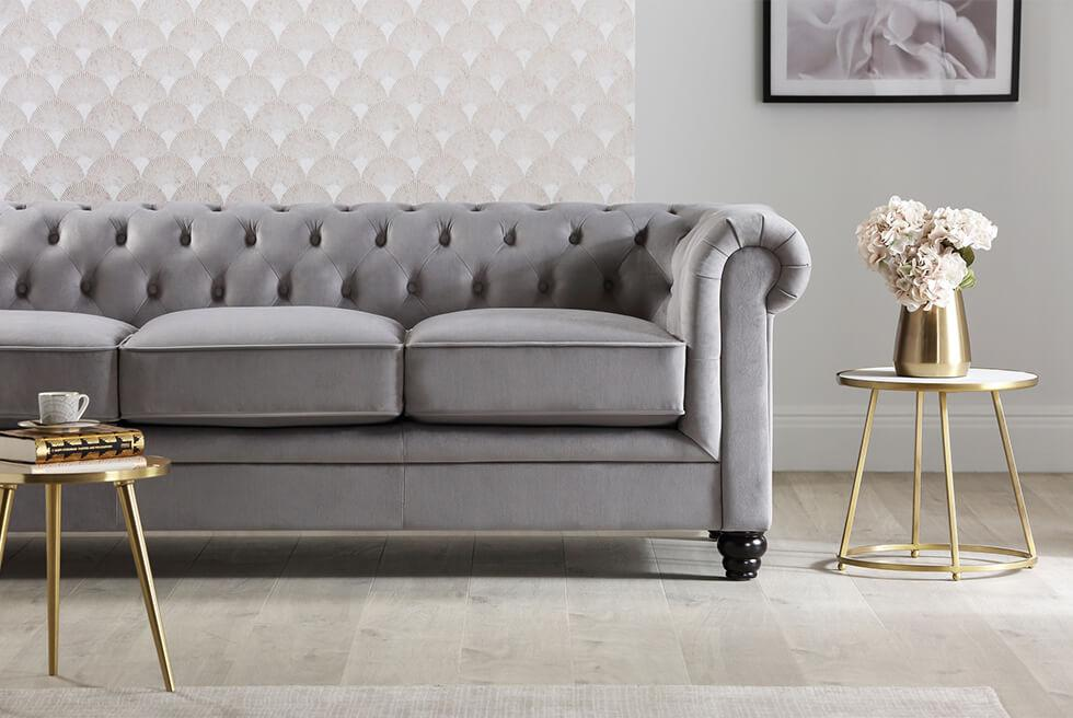 Furniture Choice Hampton grey velvet chesterfield sofa in a contemporary chic space