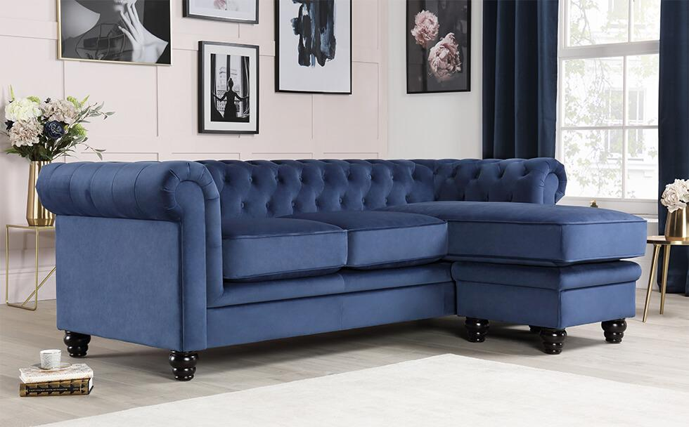 Furniture Choice Hampton blue velvet Chesterfield sofa in a contemporary living room