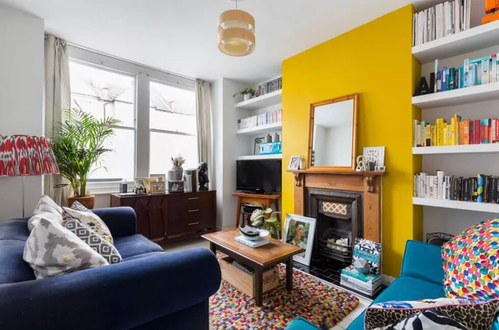 Living room fireplace with yellow feature wall