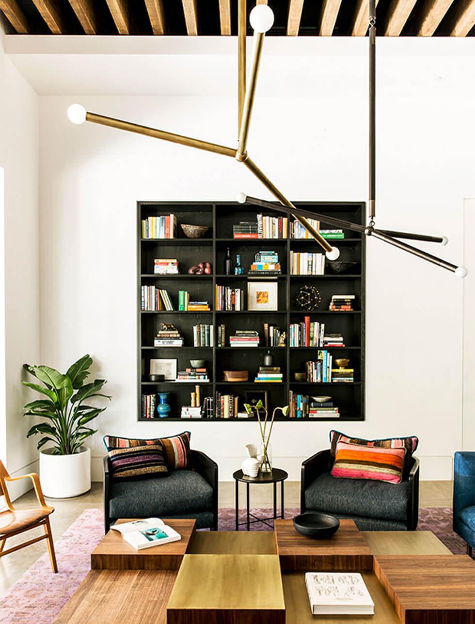 Living room with built bookshelf wall