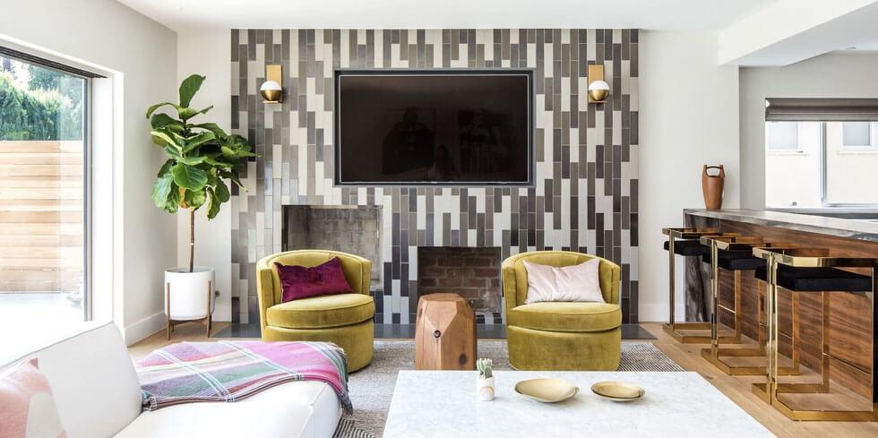Grey patterned tile feature wall in the living room