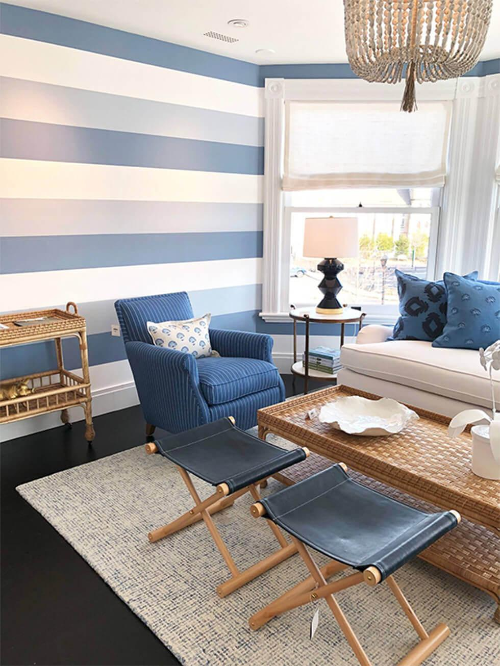 blue horizontal striped walls in a modern living room