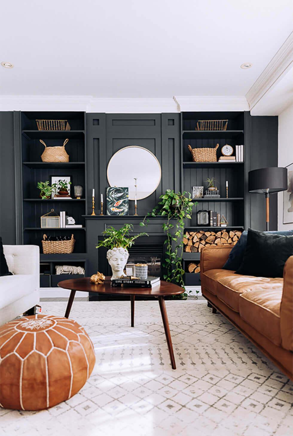 black feature wall with storage in a modern living room