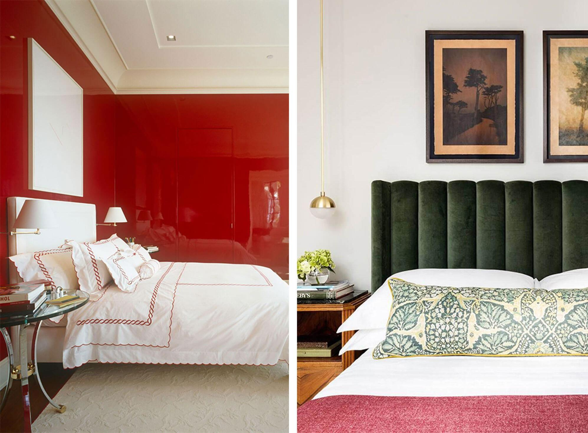 Modern bedroom with glossy red walls, matte white ceiling, and a white bed