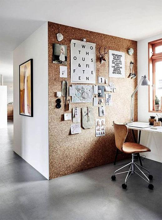 Home office with large feature wall