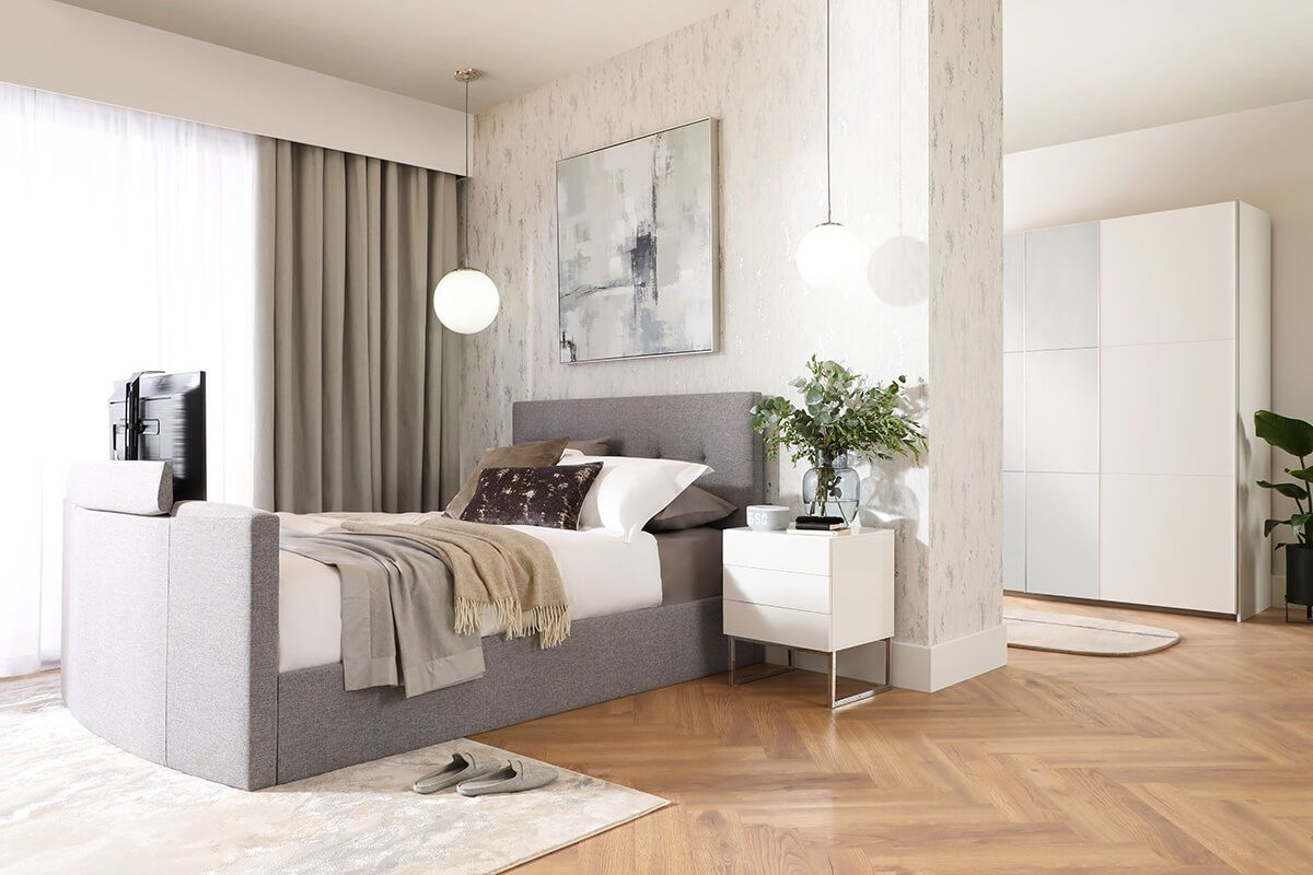 Langham Grey Fabric Bed - A Smart Home - AW21 - Main - Landscape