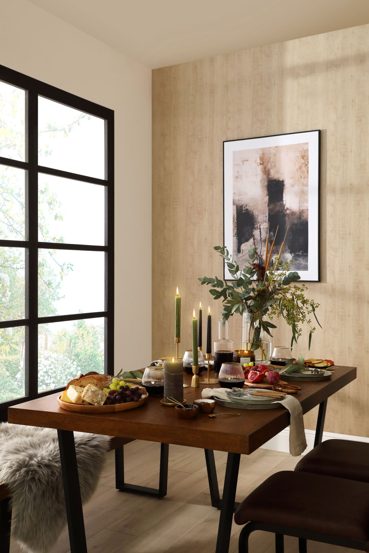 Addison Oak Table, Bench and Perth Chairs - An Autumn Retreat